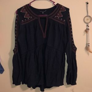 Open Arm Embroidered Top